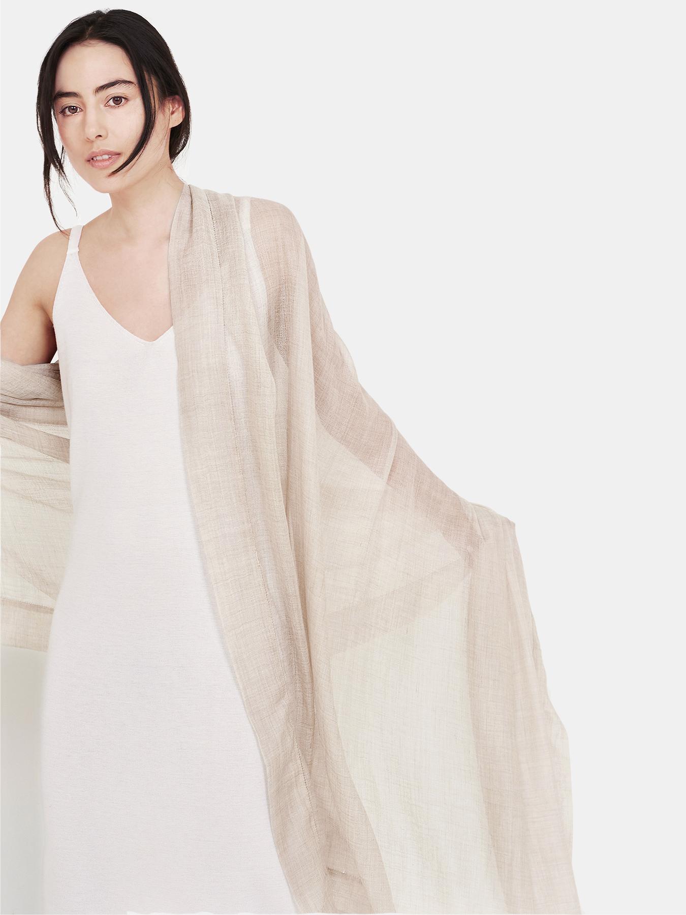 Feather-Cashmere Wrap Ecru-c2