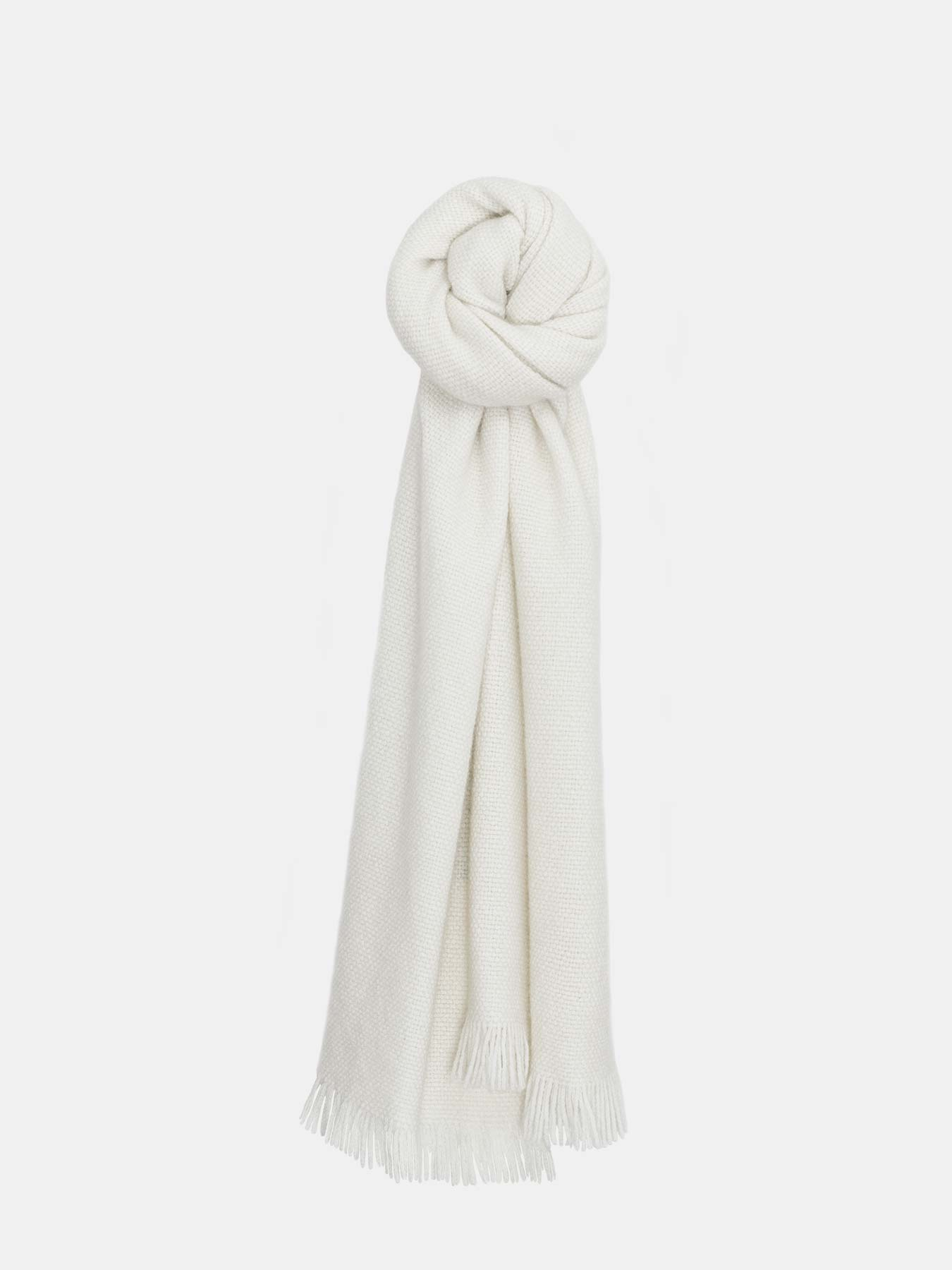 Classic Knitted Cashmere Scarf Ivory-p1.1